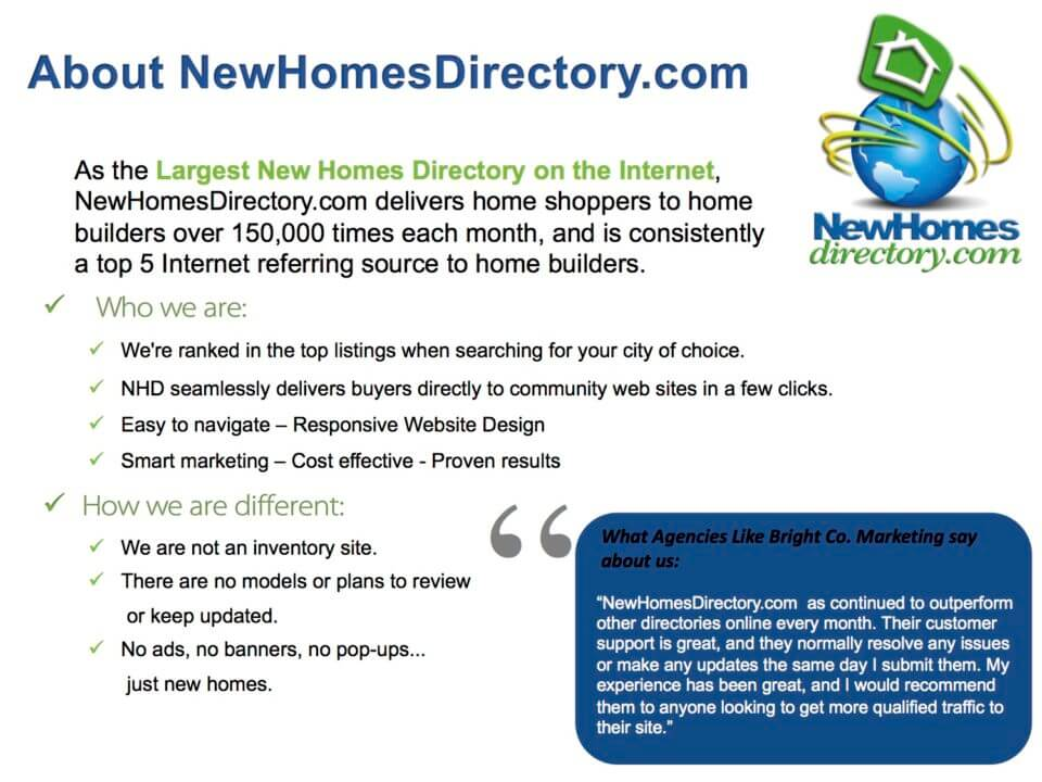 About New Homes Directory