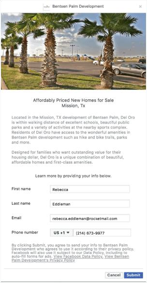 Facebook Real Estate Marketing Lead Gen Ad