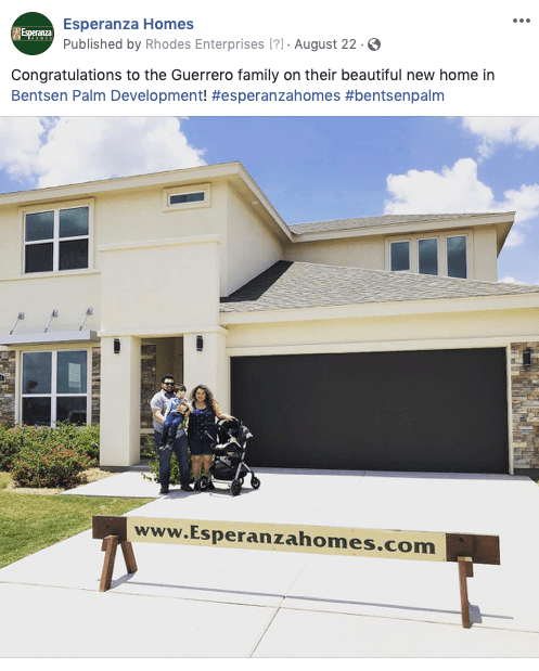 Home Builder Facebook Post Ideas - new homeowners