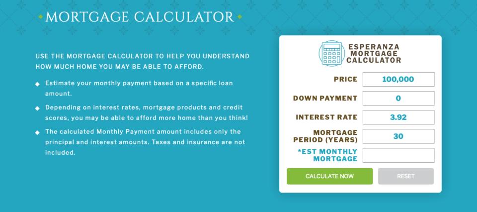 real estate website mortgage calculator