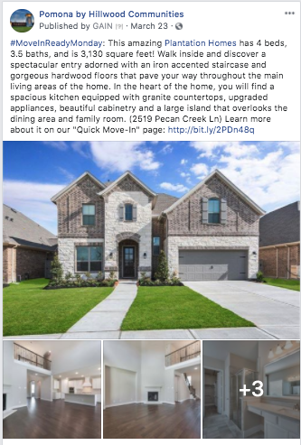 homebuilder facebook post ideas