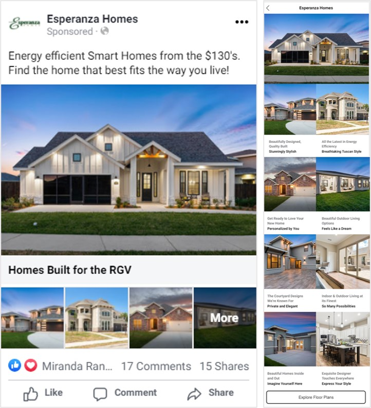 Esperanza Homes Facebook Campaign