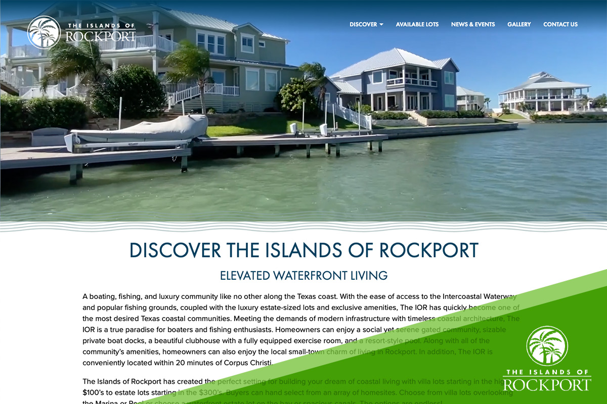 Preview of Islands of Rockport's Website Homepage
