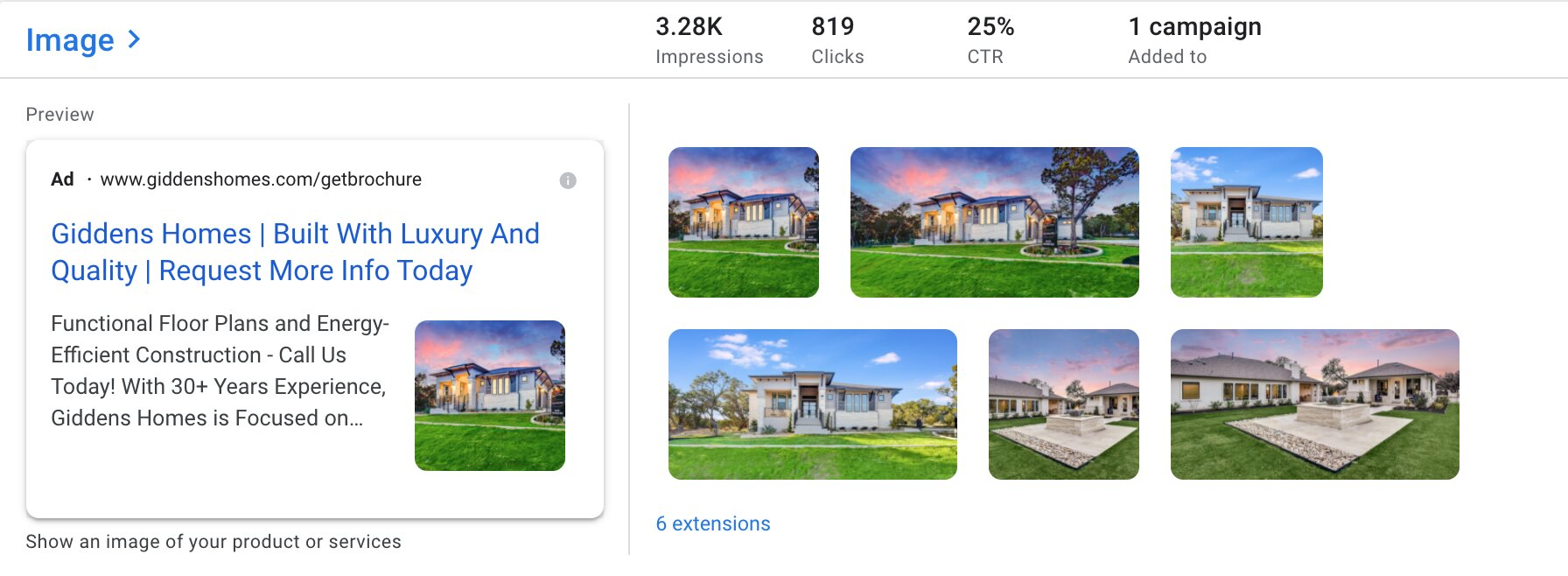Google Ads Image Extensions for Homebuilders