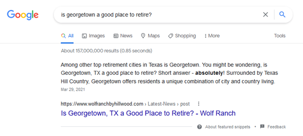 featured snippet zero click